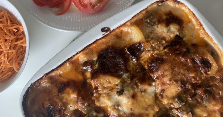 Moussaka med kartofler og aubergine